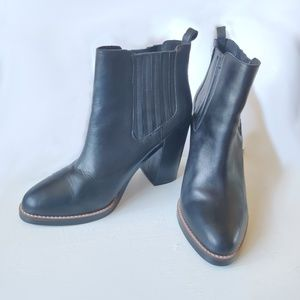 Black Genuine Leather Chunky Heel Booties Size 10